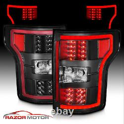 For 2018-2019 Ford F150 F-150 Pickup XL XLT Black LED Tail Lights Lamps Pair