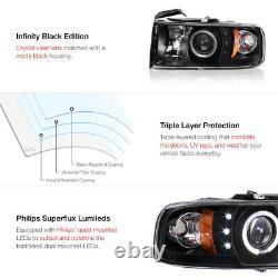 For 94-01 Dodge Ram 1500 Halo LED Projector Headlights PAIR 94-02 Ram 2500 3500