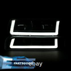 For 99-02 Silverado Tahoe LED DRL Black Housing Clear Amber Headlights Assembly