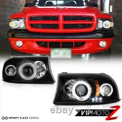 For Dodge 97-04 Dakota 98-03 Durango Black Halo LED DRL Projector Headlight Lamp