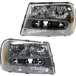 Halogen Headlight Set For 2002-2009 Chevy Trailblazer Left & Right withBulbs Pair