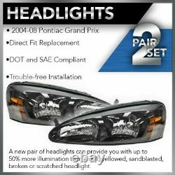 Headlights Headlamps Left & Right Pair Set NEW for 04-08 Pontiac Grand Prix