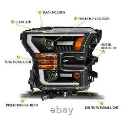LED Tube 2015 2016 2017 Ford F-150 Black LED Bar Projector Headlights Pair