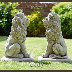 LION PAIR Stone Garden Ornament 40cm Statue Pillar Cap Gate Post onefold-uk