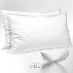 Luxury Duck Feather Down Pillows Pair Soft Comfortable Hotel Quality 100% Cotton