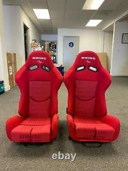 PAIR OF BRIDE GIAS V1 RED GRADATION CLOTH LOW MAX Pair Reclining RACING SEATS