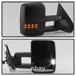 Pair(2) 2014-2018 Chevy Silverado Sierra Power+Heat+Smoked LED Cargo Tow Mirrors