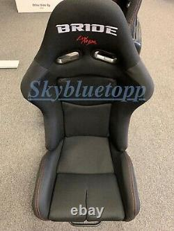 Pair 2 BRIDE GIAS V1 Black Cloth FRP Shell Racing Seats Bucket Slider Rail JDM