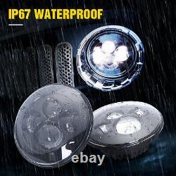 Pair 7inch Osram Round LED Headlight Hi/Lo Beam For Jeep Wrangler JK TJ CJ LJ JL
