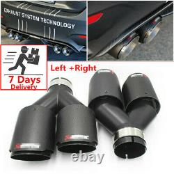 Pair Akrapovic Real Carbon Fiber ID2.5 OD3.5 Car Exhaust Tip Dual Pipes End