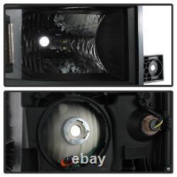 Pair Black 2014-2015 Chevy Silverado 1500 Pickup Headlights Headlamps Left+Right