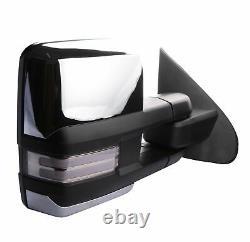 Pair Chrome Power Heated Dynamic Signal Tow Mirrors For Chevy Sierra Silverado