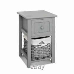 Pair Grey Bedroom Bedside Table Unit Cabinet Nightstand Wicker Storage Wooden