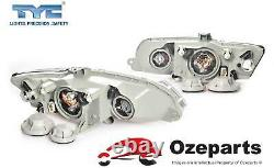 Pair LH+RH Head Light Lamp Black For Holden VY Commodore SS SV8 20022004