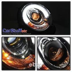 Pair Mini Cooper Projector LED Light bar DRL Headlight Headlamp Black 07-13 R56