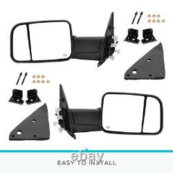 Pair Power Heated Tow Mirrors Fit for Dodge Ram 02-08 1500 / 03-09 2500 3500