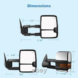 Pair Power Tow Mirrors Chrome for Chevy Silverado GMC Sierra 1500 2500 Suburban
