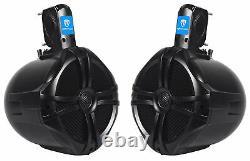 Pair Rockville RWB80B 8 Black 2 Way 600 Watt Marine Wakeboard Tower Speakers