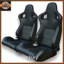 Pair Universal Design BB6 Reclining Titling Bucket Sports Racing Seats BLACK