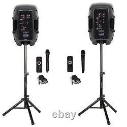 Pair of 8 portable Bluetooth DJ, PA Speaker AC/DC, Mic, Light, Stand, USB, FM
