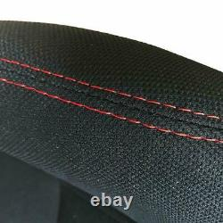 Pair of Sports Cloth Reclinable Racing Seats Black with Slider Brackets