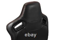 Pairs Black+Red Stitching PVC leather L/R Racing Bucket Seat+Slider