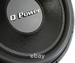 QPower QPF15 Deluxe 15 Inch 2200 Watt 4 Ohm DVC Car Audio Subwoofer Subs, Pair