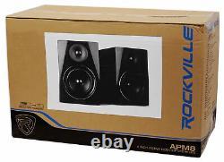Rockville APM8B 8 2-Way 500W Active/Powered USB Studio Monitor Speakers Pair