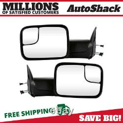 Side View Mirror Tow Manual Black Pair 2 for Dodge Ram 1500 Ram 2500 Ram 3500 V8