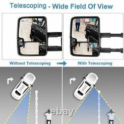 Smoke LED Signal Power Tow Mirrors Pair For 1999-2002 Chevy Silverado Sierra