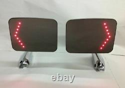 Square Rectangle LED Turn Signal Chrome Outside Rearview Door Mirrors Truck Pair