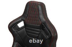 Universal Pairs JDM Black + Red Stitching PVC Leather Racing Bucket Seats