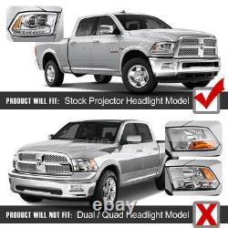 VIP ExclusiveRebel Black 13-18 Dodge Ram 1500-3500 LED DRL Projector Headlight