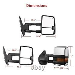 YITAMOTOR Pair Chrome Towing Mirrors Power Heated for 08-13 Chevy Silverado 1500